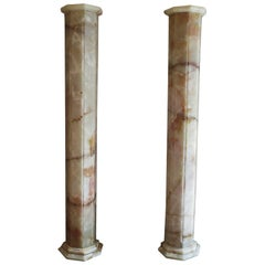 Matched Pair of Lighted Onyx Column Lamps