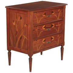 French Art Nouveau Longleaf Pine Chest of Drawers, 1900s