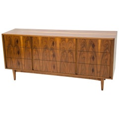 Burl Walnut Nine-Drawer Dresser, B. P. John