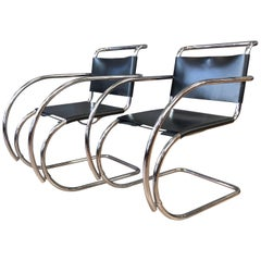 Pair of Vintage Mies van der Rohe MR Armchairs by Stendig