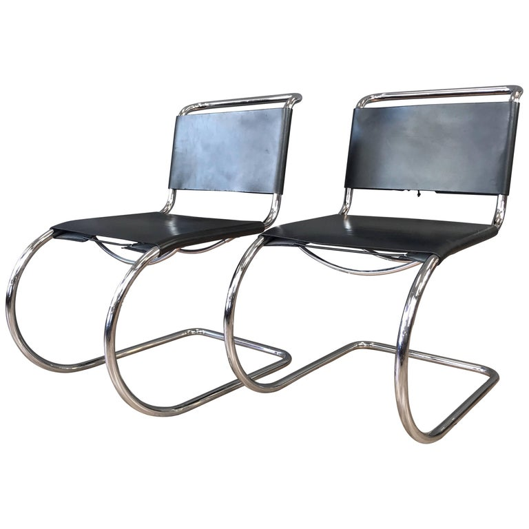Pair of Vintage Mies van der Rohe MR Side Chairs by Stendig