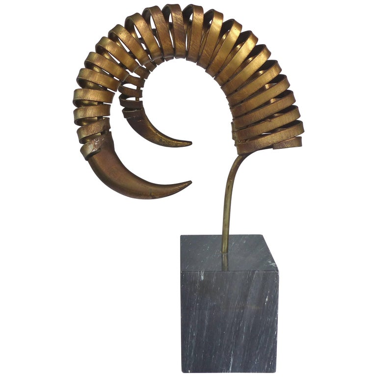 C. Jere Ram's Horn Sculpture on Marble Base, Twice Signed and Dated, 1983