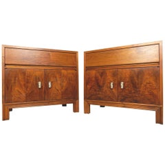 1950s California Modernism Designer John Keal Walnut Burl End Tables