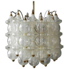1960s J. T. Kalmar Franken Tulipan Frosted Glass Ball Ceiling Lamp