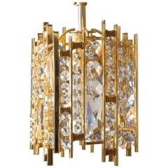 1970s Small Palwa Brass Hanging Lamp with Faceted Crystal Stones Brutalist Style