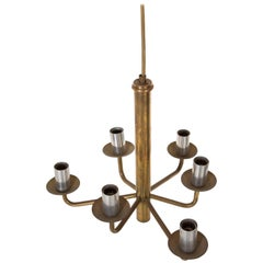 Mid-Century Modern Six-Arm Brass Chandelier with Aluminium Candle Tubes
