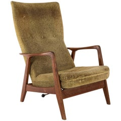 High Back Recliner in Original Fabric, Designed by Folke Ohlsson