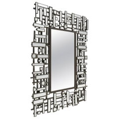 Mirrors, Art Moderne, Bevelled Edged Mirror in Stainless Steel and Resin