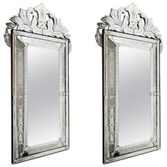 Pair of Venetian Parclose Mirror of the 20th century. Glass is etched and bevell