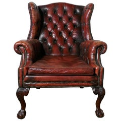 Edwardian Gentleman's Wing Back Leather Library Chair