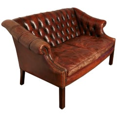 Edwardian Leather Two-Seat Library Chesterfield Settee