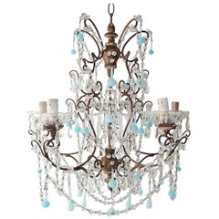 French Robins Egg Blue Opaline Beaded Chandelier, circa 1890