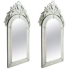 Pair of Venetian Mirror of the 20th century. Glass is etched and bevelled.