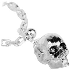 Keyring, Death's Head, Sterling Silver, Two Diamonds