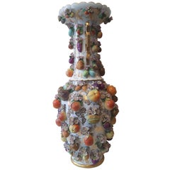 Fine Large 19th Century Fruit Encrusted Schneehallen Vase