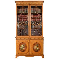 Sheraton Revival Satinwood Painted Two-Door Bookcase