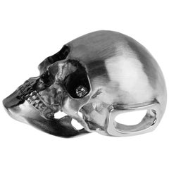 Pendant, Death's Head, Sterling Silver, Two Diamonds in the Eyes