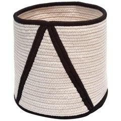 Woven Wool Point Soft Storage Basket in Black, Custom Made Modern Decor