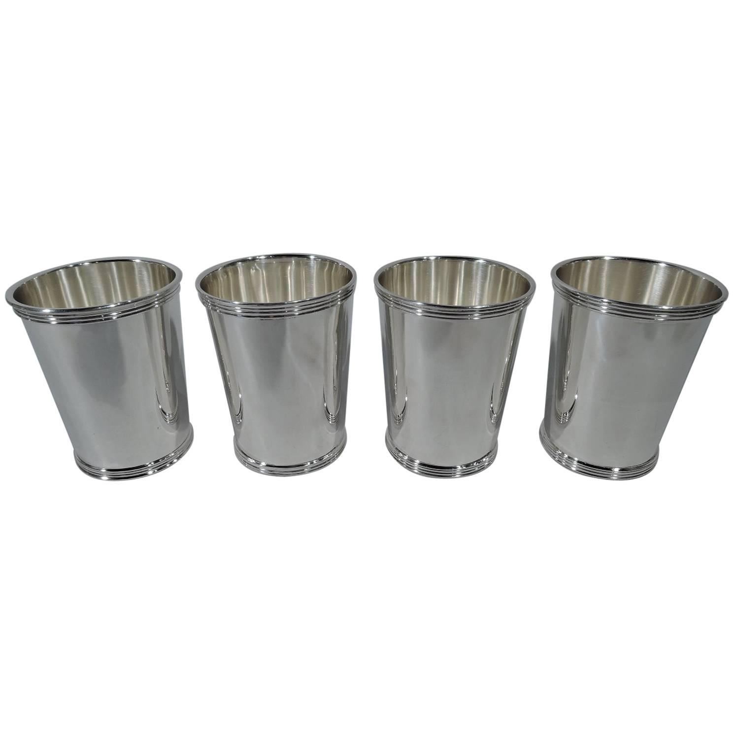 Elegant Set Of Four International Sterling Silver Mint Julep Cups