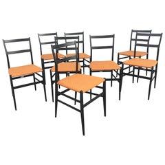 Set of Eight Superleggera Chairs by Gio Ponti