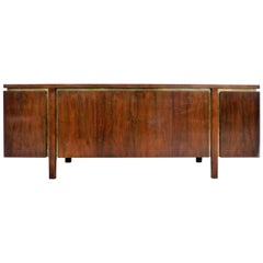 John Widdicomb Mid-Century Modern Walnut and Brass Credenza or Sideboard