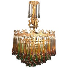 Enchanting French Brass and Multicolored Teardrop Chandelier, 1920s
