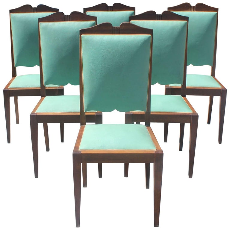 Set of Six French Art Deco Solid Mahogany by Jules Leleu Style Dining Chairs