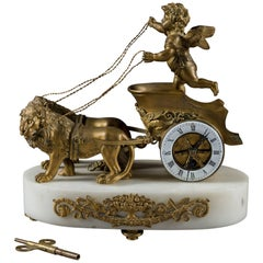 19th Century French Gilt Bronze and Marble Desk Clock