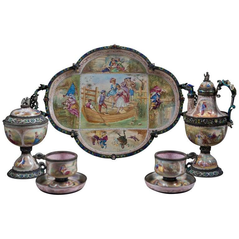 Very Fine Austrian Silver & Viennese Enamel Cabaret Tea Service by Hermann Bohm