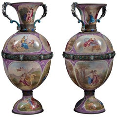 Pair of Austrian Silver and Viennese Enamel Vases by Hermann Bohm