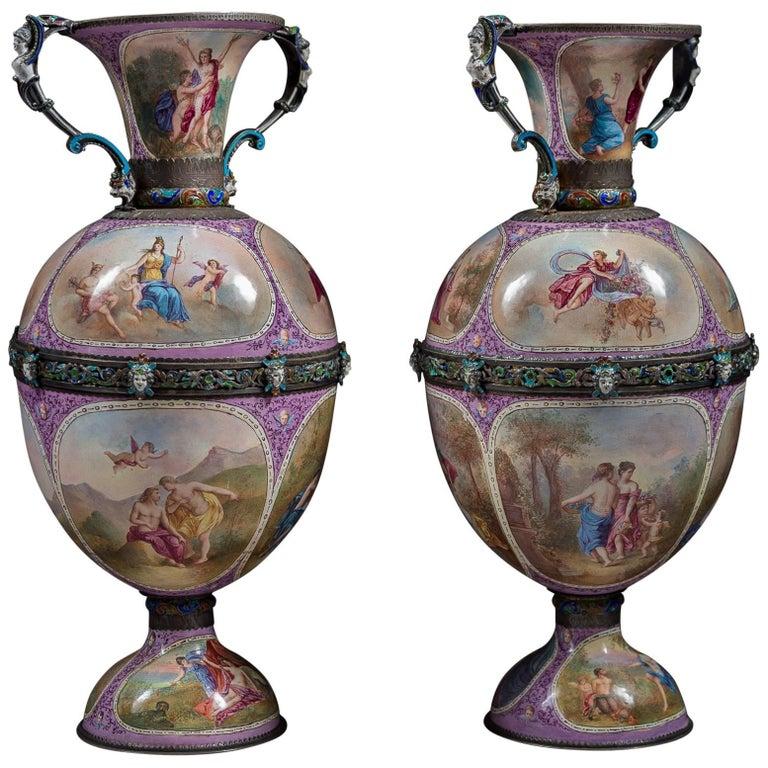 Pair of Austrian Silver and Viennese Enamel Vases by Hermann Bohm