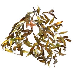 1970s Curtis Jere Style Mixed Metals Wall Sculpture with Leaves and Butterflies
