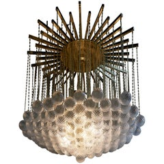 Impressive Brass and Murano Glass Bubble Chandelier