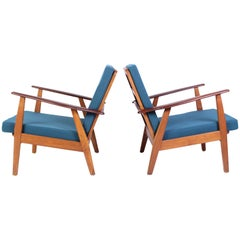 Pair of Midcentury Danish Oak and Teak Lounge Chairs