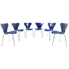 Set of Six Blue Arne Jacobsen Chairs, Mod. 3107