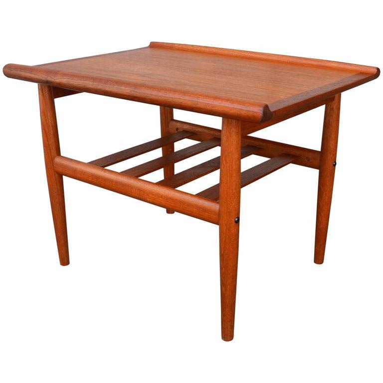 Danish Modern Teak Side Table with Flared Edges & Slat Shelf in Style of Jalk