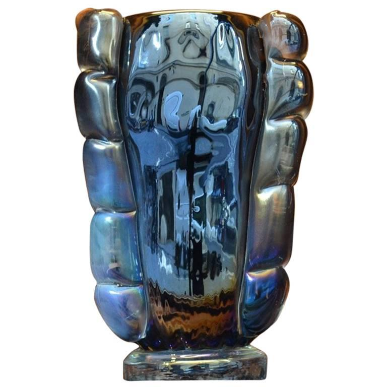 Iridescent Mirrored Murano Glass Italian Vase Signed by Costantini Murano, 1950s