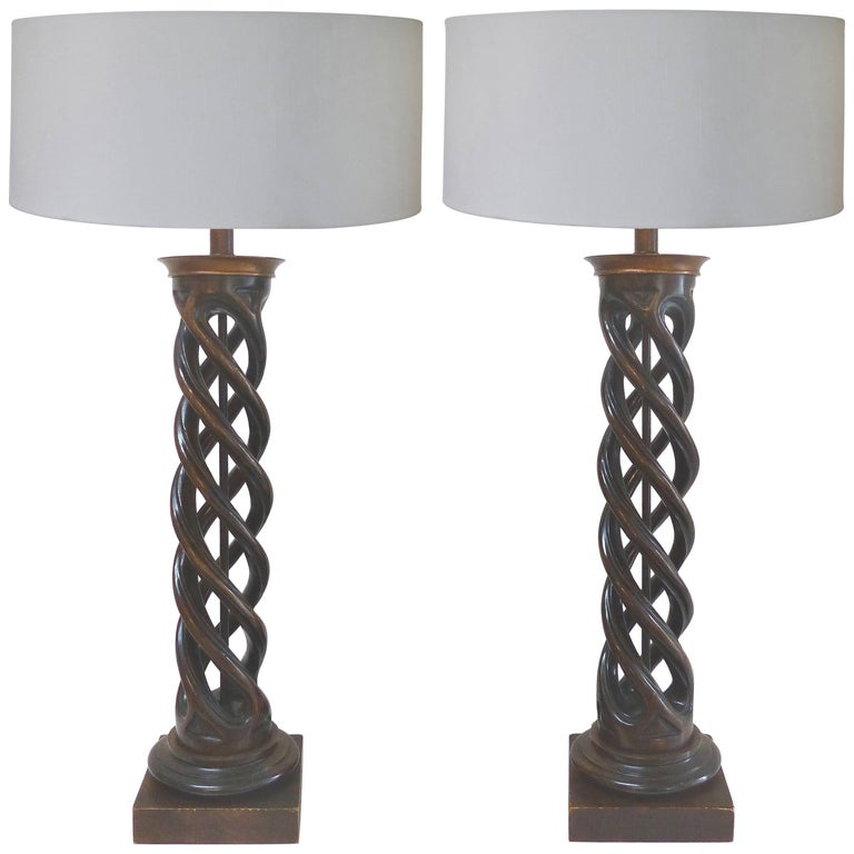 Spiral Column Carved Wood Table Lamps by James Mont for Frederick Cooper, Pair