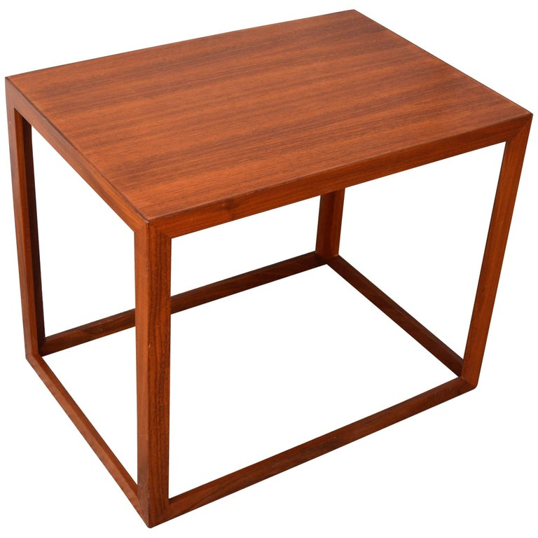 Danish Modern Teak and Mahogany Cube Side Table or Small Coffee Table