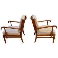 Pair of Walter and Wilhelm Knoll Cane and Cherry Armchairs for Knoll Antimott