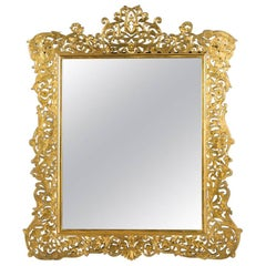 French Art Nouveau Period Gilt Bronze Mirror with Stand