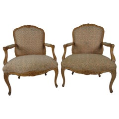 Pair of Louis XV Style Beechwood Carved Fauteuils
