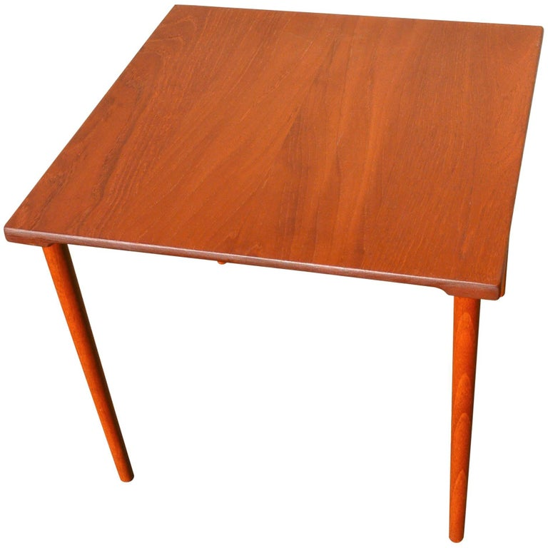 Two Danish Modern Solid Teak 1960s Square Side Table by Hvidt & Mølgaard-Nielsen For Sale