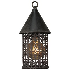 Lovely Antique 1920s Outdoor Pendant with Cut-Outs
