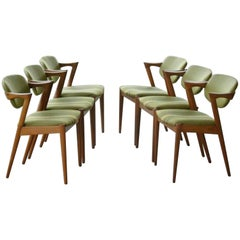 Six Kai Kristiansen Model 42 Teak Frame Dining Chairs for Schou Andersen, 1960s