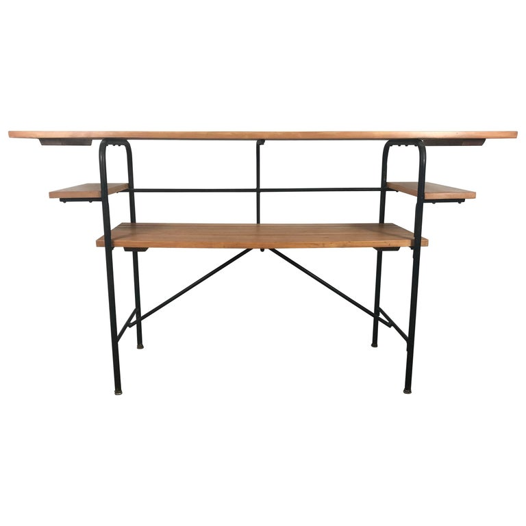 Barcalo Iron and Wood Tiered Table, Desk, Server