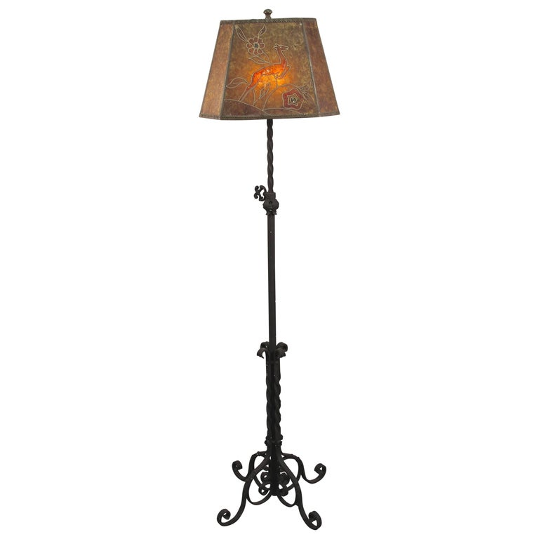 Spanish Revival 1920s Floor Lamp with Mica Shade