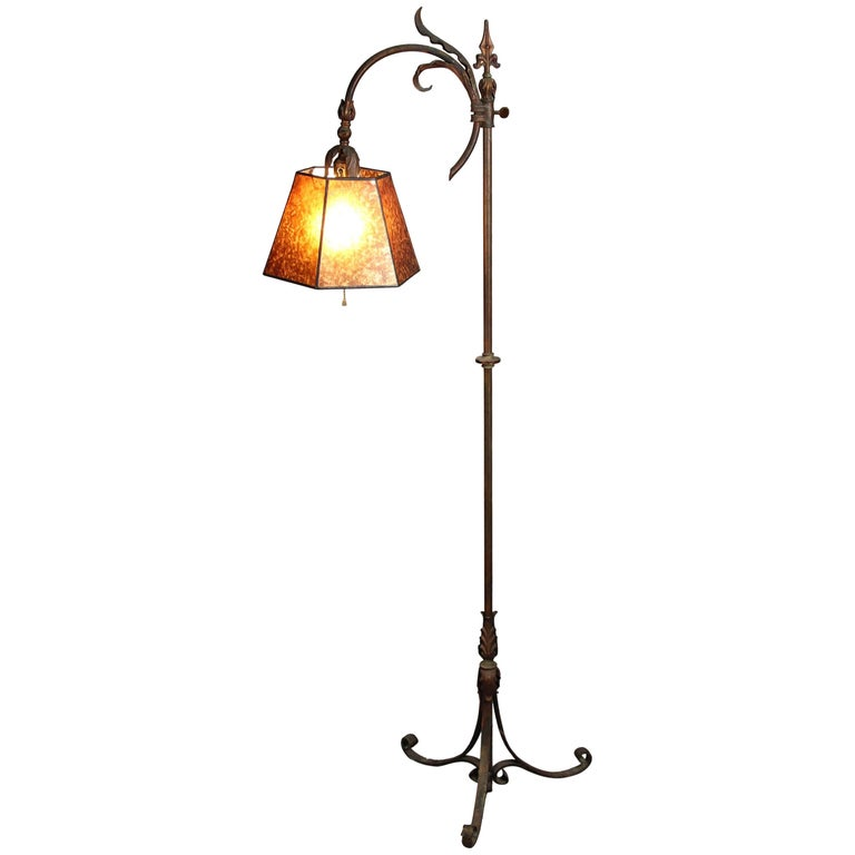 1920s Adjustable Floor Lamp with Mica Shade