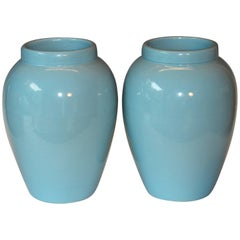 Pair of RRP CO Oil Jars Vases Sky Blue Large Vintage American Floor Pottery Urns