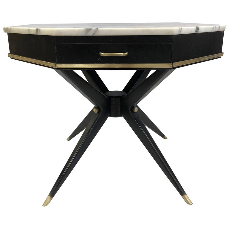 1950s Italian Marble-Top Center Table